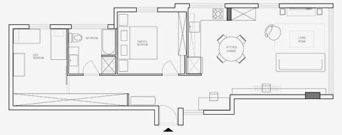 תוכנית הדירה היום (הדמיה: דלית לילינטל עיצוב פנים)
