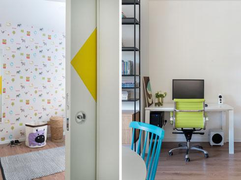 כתמי צבע בפינת העבודה (מימין) ובחדר הילדים (צילום:  גלית דויטש)