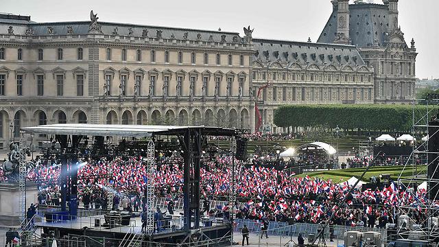 תומכי מקרון חוגגים (צילום: AFP)