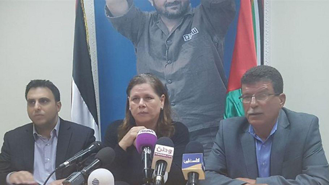 Fadwa Barghouti at the press conference in Ramallah
