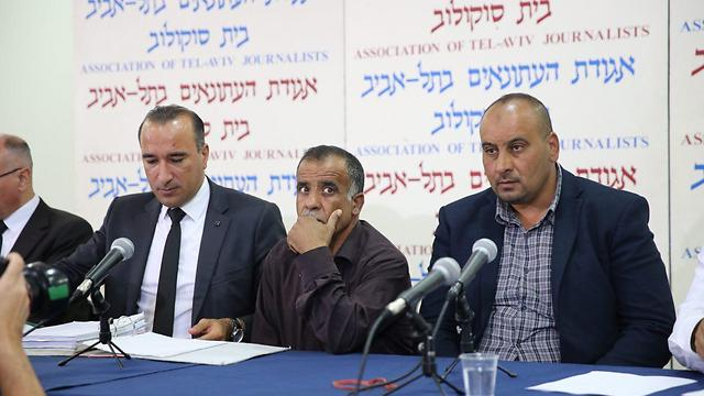 Dawabsheh family at a press conference declaring their intention to sue the state (Photo: Motti Kimchi)