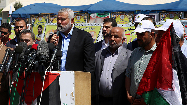 Hamas Head Ismail Haniyeh speaking at a support rally (Photo: AP)