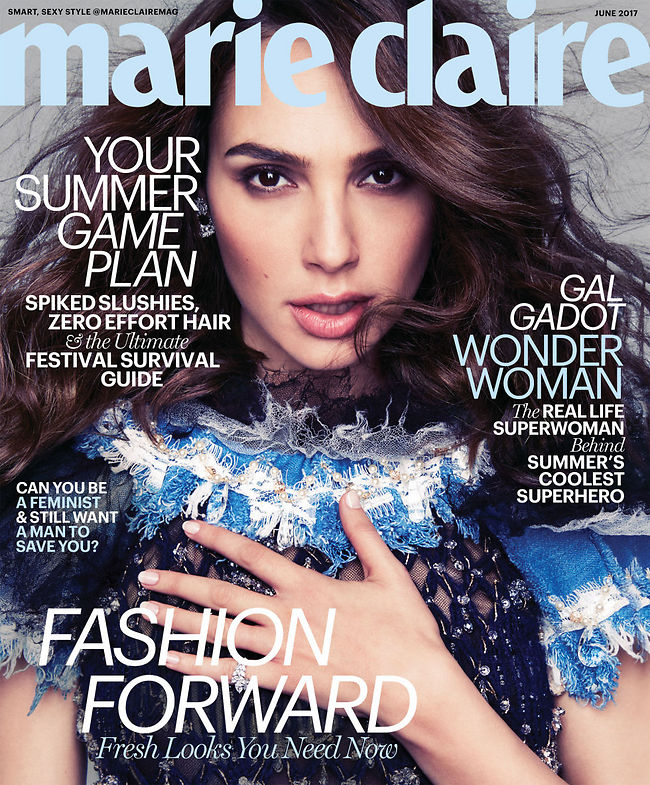 """גל גדות בשער של """"מארי קלייר"""". חיבקה את המראיינת, עם בטן של חודש שמיני (צילום: marie claire)"""