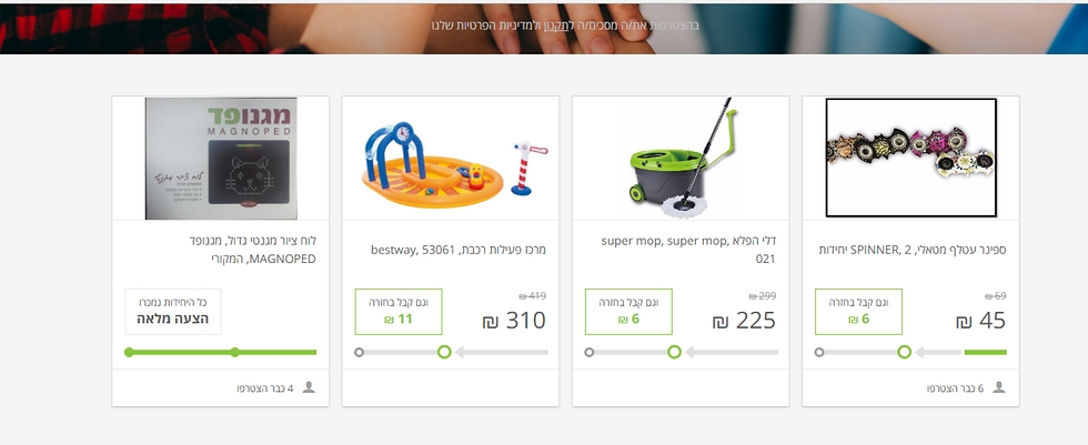 מוצרים שהוצעו למכירה באתר