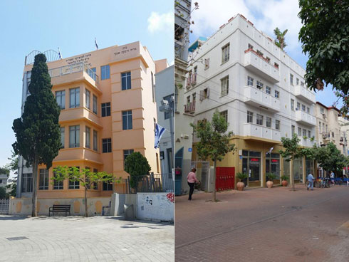 פרויקטים קודמים של פורטוגלי בת''א: בניין ברחוב השומר (מימין) ומרכז המוזיקה פליציה בלומנטל בכיכר ביאליק (צילום: מיכאל יעקובסון)