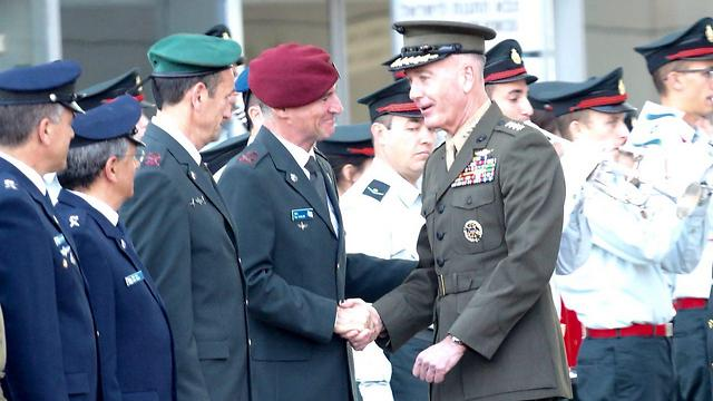 Gen. Dunford greeting IDF officers (Photo: Motti Kimchi) (Photo: Motti Kimchi)