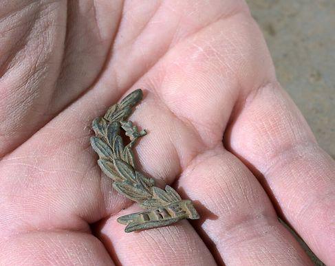 שבר סמל של יחידת נורפולק הבריטית (צילום קלרה עמית, רשות העתיקות)