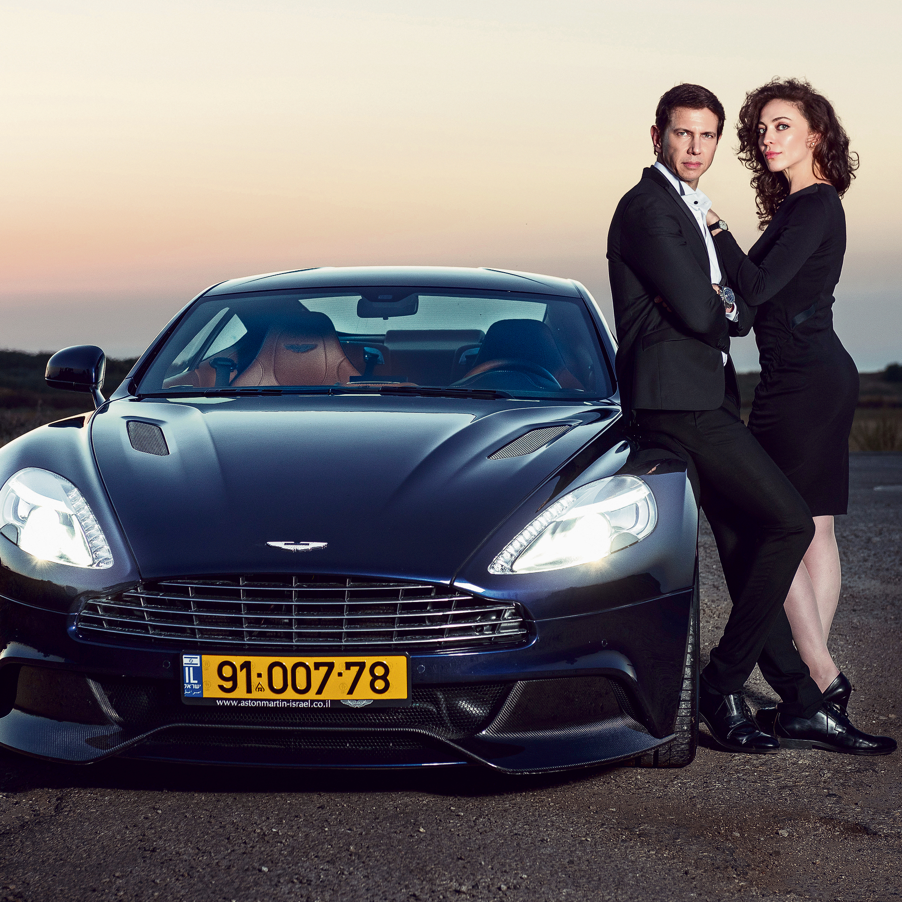Yana Sofovich, Ronen Bergman and the Aston Martin Vanquish. Spies for a day (Photo: Gabriel Baharlia)