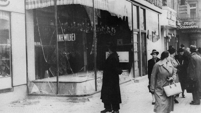 A Jewish shop in Berlin damaged during Kristallnacht (Photo: AP)