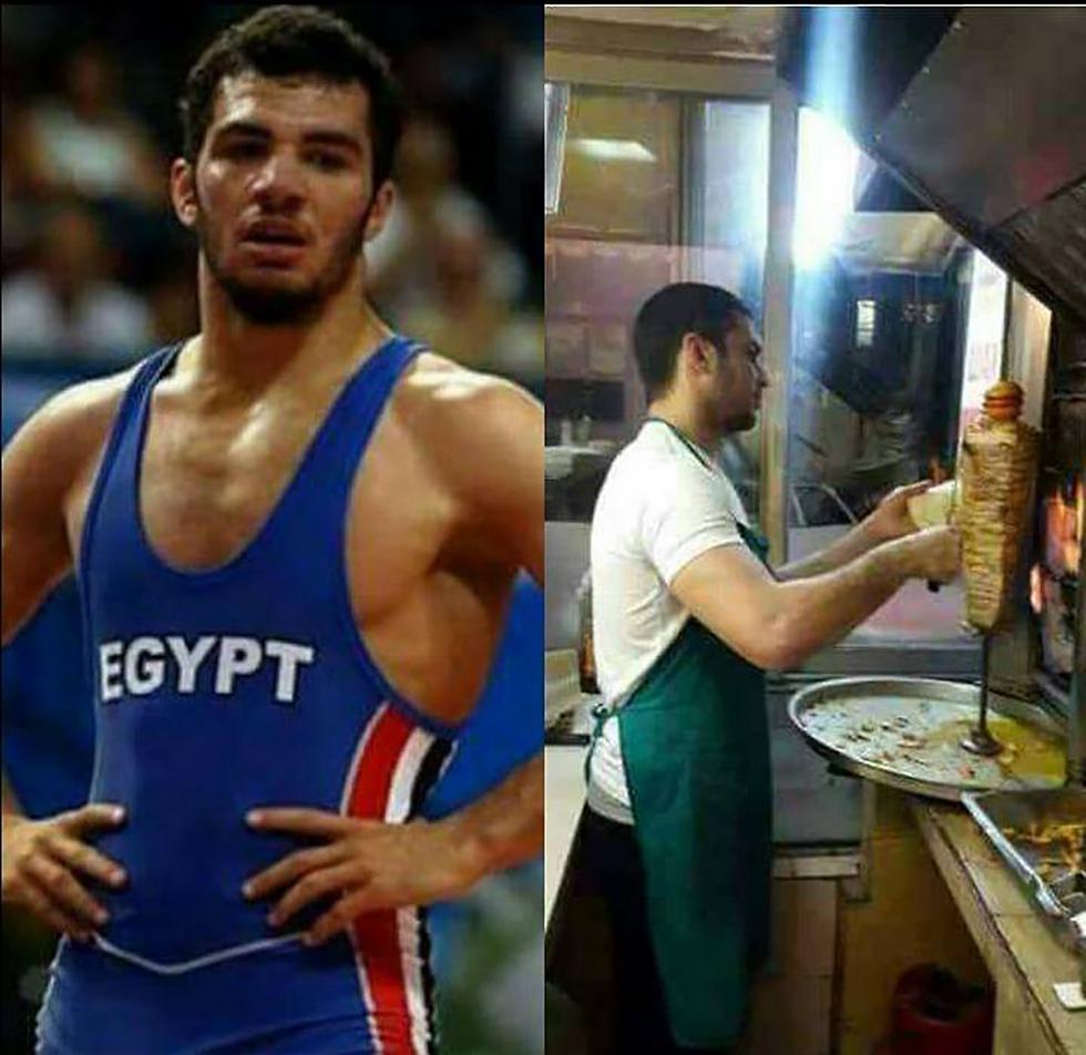 מימין: מוכר שווארמה, משמאל: מייצג את נבחרת מצרים