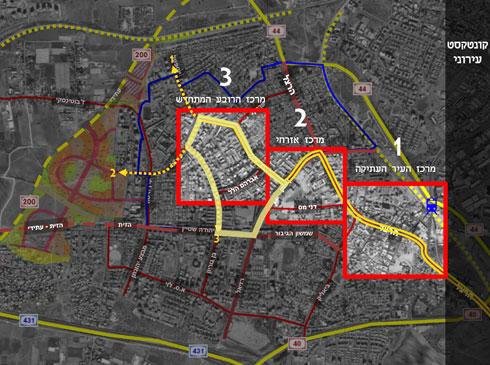 שטח התוכנית מוגדר במספר 3. מחומש הרחובות הוא ''הפנטגון'' (הדמיה: אליקים אדריכלים ובוני ערים)