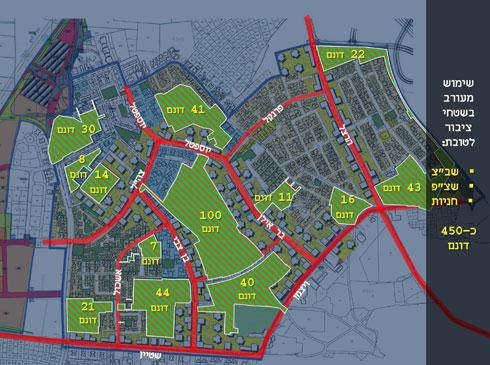השטחים הירוקים, ובמרכזם פארק בן 140 דונם (מחולק לשני שטחים גדולים) (הדמיה: אליקים אדריכלים ובוני ערים)