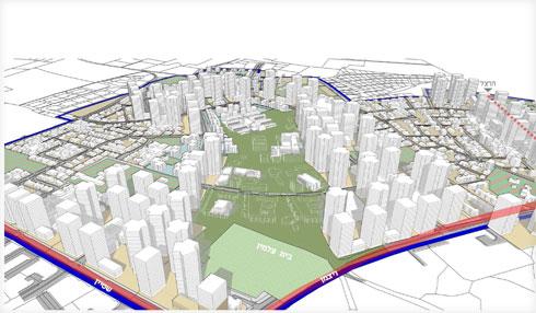 במבט-על, כל מרכז רמלה יטפס למעלה - למגדלים של עד 40 קומות (הדמיה: אליקים אדריכלים ובוני ערים)
