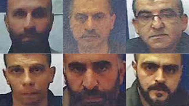 Six of the defendants (Photo: Shin Bet)