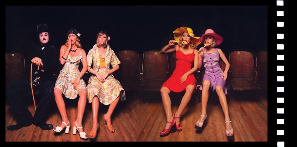 """העידן טרום הפוטושופ בתערוכה של בן לם. מירי אורן, פנינה רוזנבלום וישראל גוריון בהפקת האופנה """"קולנוע בצבע"""" ממאי 1974 (צילום: בן לם)"""