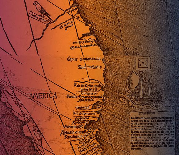"""מסלול מסעו של וספוצ'י במפה של ולדזימילר. הנציח את השם """"אמריקה"""" (צילום: מתוך ויקיפדיה)"""