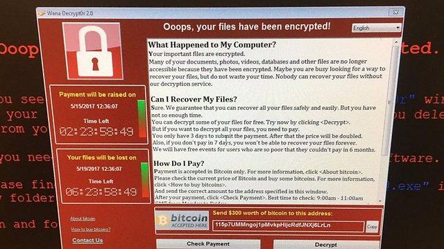 הודעת תשלום הכופר תמורת שחרור המחשב