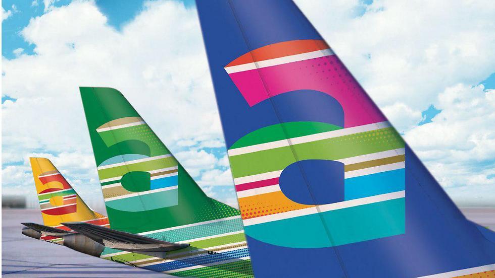 כל אחד מהמטוסים ייצבע בגוונים אחרים. מטוסי ארקיע אחרי המיתוג החדש (צילום: הדמיה) (צילום: הדמיה)