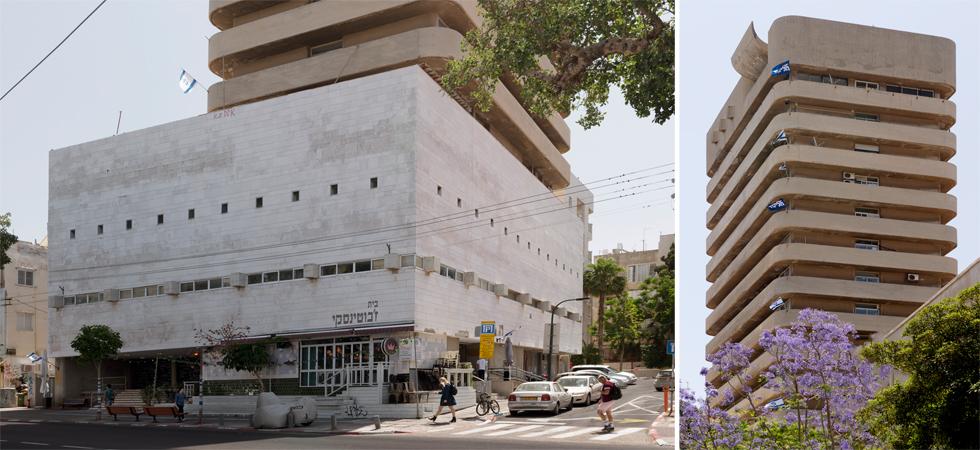 על הבניין הקיים, שנעטף באבן חברון בוהקת, הוקם מגדל בהטיה לקו המגרש - מה שיוצר תשומת לב כלפיו במבט מהרחוב (צילום: גדעון לוין)