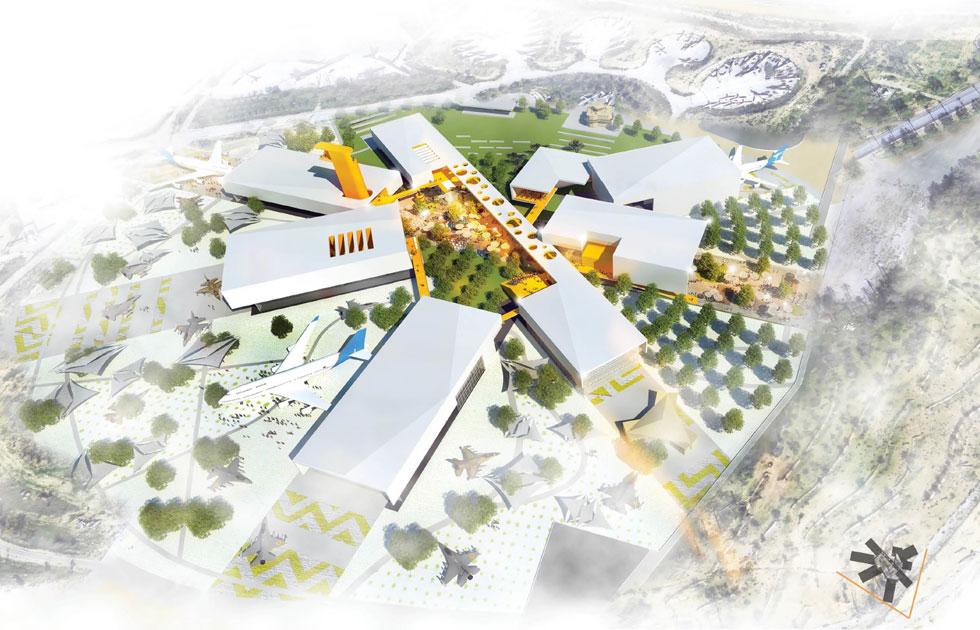 ההצעה הזוכה של משרד האדריכלים שוורץ-בסנוסוף. מדובר בהרחבה של המוזיאון הוותיק (הדמיה: באדיבות משרד הביטחון)