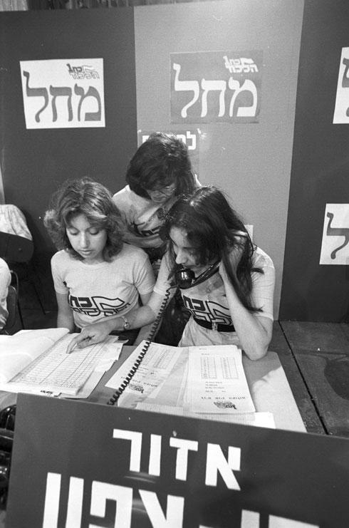 המתח בשיאו לקראת סיום יום הבחירות, 17 במאי 1977. מצודת זאב (צילום: דוד רובינגר)