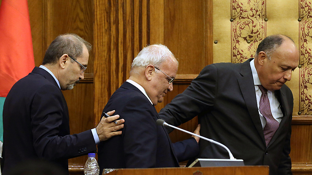 L to R: Safadi, Erekat and Shoukry (Photo: AFP)