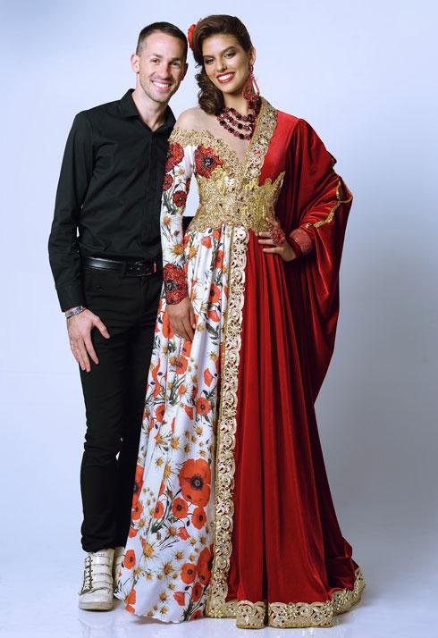 ידוע בכתב ידו התיאטרלי. אביעד אריק הרמן ושמלה שיצר לקארין עליה בהשראת שושנה דמארי (צילום: ערן לוי)