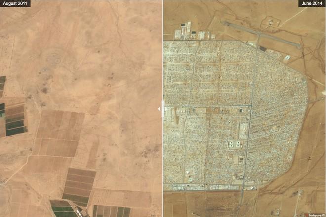 מחנה פליטים סורים בירדן: איך מדבר הופך ליישוב צפוף (צילום: By Daily Overview, Satellite imagery © DigitalGlobe)