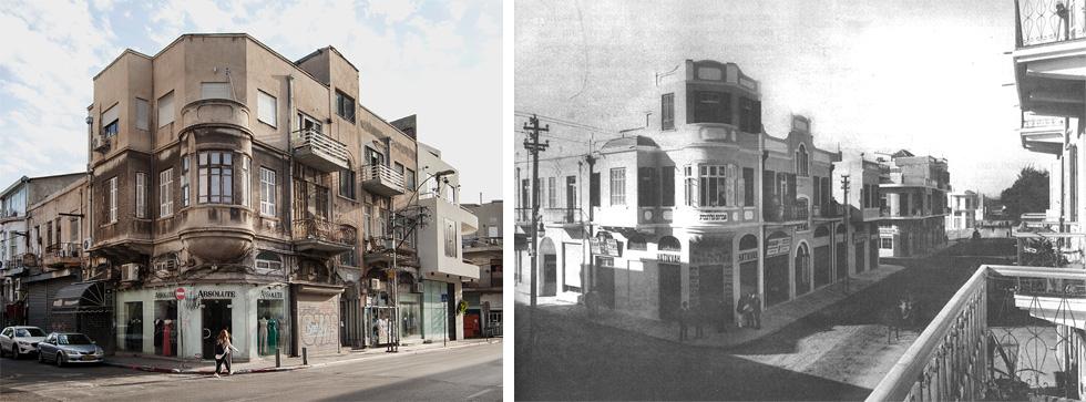 בית אברהם גולדנברג, דרך יפו 28. כאן סטמפלר בנה את המקור - וזאב רכטר הוסיף קומה בהמשך (צילום: ימין - צלם לא ידוע, הארכיון הציוני המרכזי, שמאל - רן ארדה)