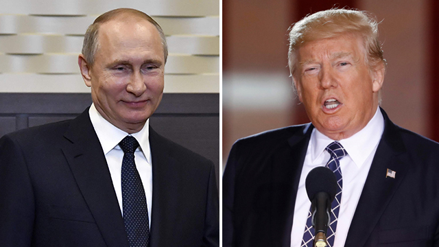 Trump (R) and Putin. Defending the US president is worth the Russian leader's while. Where else will he find such a stupid rival? (Photo: AP)