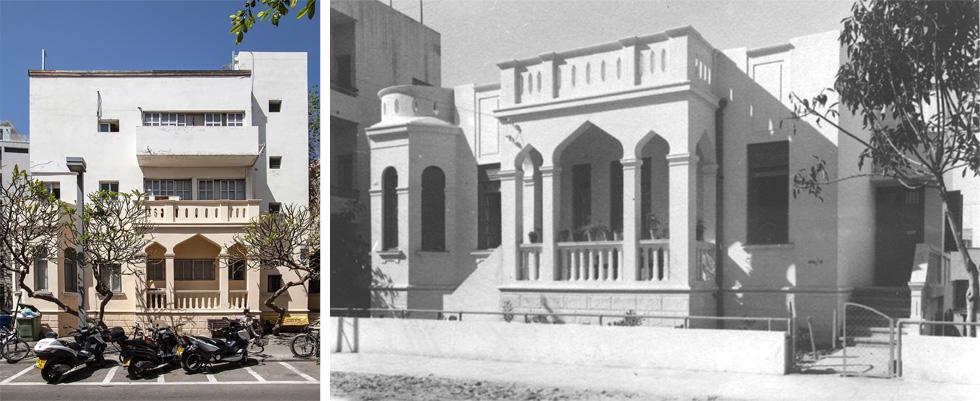 בית מיכאל טיטלמן, סירקין 3 תל אביב. סטמפלר חנך אותו ב-1926, האדריכל שלמה גפשטיין הוסיף לו קומות עשור מאוחר יותר (צילום: ימין - קורט ברמר, שמאל - רן ארדה)