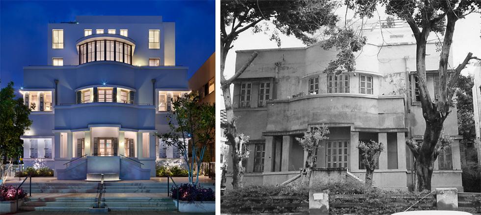 בית שמעון שטרן (1928) בפינת רוטשילד-שינקין בתל אביב, כיום ''מרכז אדמונד דה רוטשילד''. שימורו המוקפד הסתיים השנה (צילום: ימין - צלם לא ידוע, שמאל - אסף פינצ'וק)