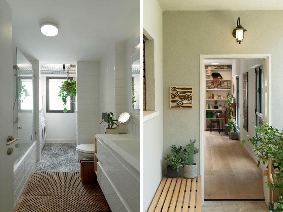 מימין: ספסל ועציצים בכניסה לדירה. משמאל: עציץ תלוי מרשת ברזל שעליה הונח הדוד, וכך ניתן היה לבטל את הקיר שתוכנן במקור בין חדר הרחצה למרפסת השירות (צילום: גדעון לוין)