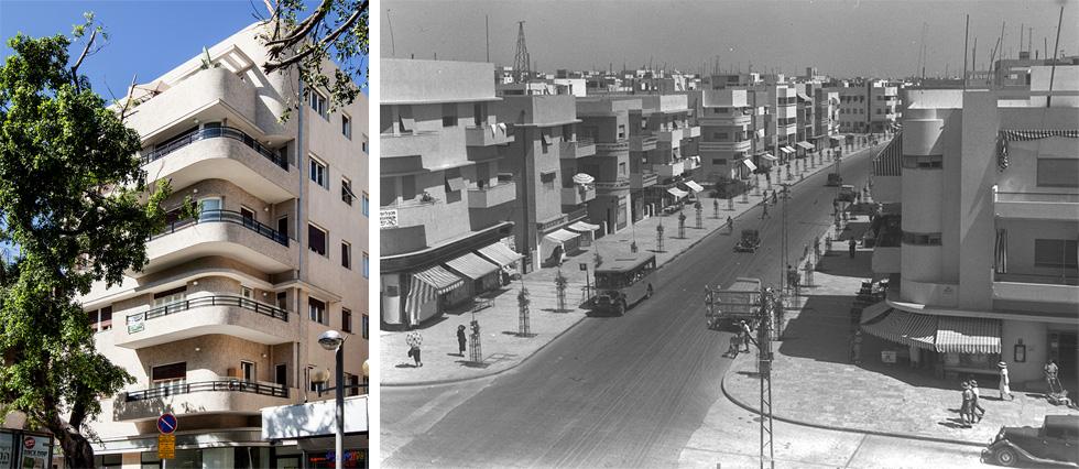 """שני משמאל: בית יהודה חצרוני, דיזנגוף 107 סמוך לרחוב פרישמן. נבנה ב-1935, שומר ונחנך מחדש ב-2017 (צילום: ימין - צילום: זולטן קלוגר, לע""""מ, שמאל - רן ארדה)"""
