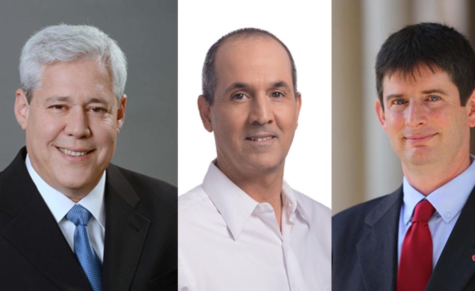 """מימין: מנכ""""ל ישראכרט רון וקסלר, מנכ""""ל לאומי קארד, רון פיאנרו ומנכ""""ל כאל דורון ספיר"""
