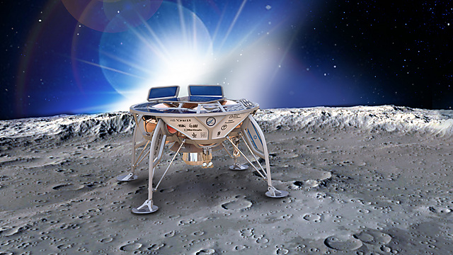 Illustration of  spacecraft on the moon