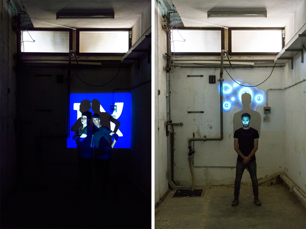 התערוכה המרכזית תוצג במבנה התעשייתי של מרכזיית בזק הנטושה בשכונת טלביה, ותכלול 40 פרויקטים שמעניקים פרשנות למושג ''אי''. יניב טורם (מימין) שותף למיצב גרפי-דיגיטלי, וגיא שגיא ומיכל סהר (משמאל) יפיקו עיתון יומי (צילום: איתי בנית)