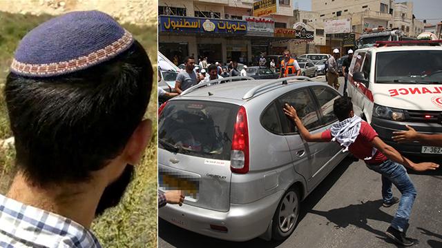 תושב איתמר שירה לעבר המפגינים (צילום: חוננו, AFP) (צילום: חוננו, AFP)