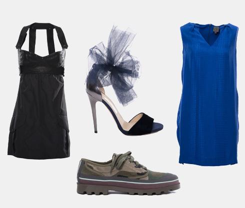 משמאל למעלה, עם כיוון השעון: שמלה שחורה של דיזל, 699 שקל; נעלי עקב של ג'ימי צ'ו, 949 שקל; שמלה כחולה של CK קלווין קליין, 89 שקל; נעליים של ולנטינו, 1,690 שקל (צילום: עמית שסטוביץ)