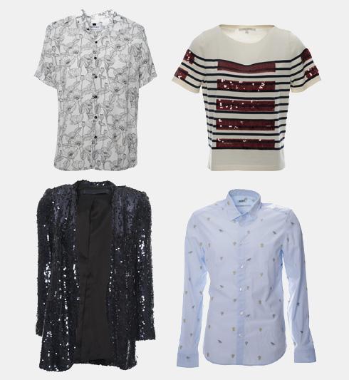 משמאל למעלה, עם כיוון השעון: חולצה של טופמן, 79 שקל; חולצה של מארק ג'ייקובס, 399 שקל; חולצה של קנזו, 299 שקל; ז'קט של זארה, 129 שקל (צילום: עמית שסטוביץ)