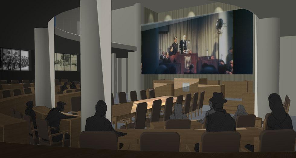 """באולם המליאה שישוחזר לפי מקומות הישיבה ההיסטוריים - עם שולחן הממשלה ודוכן הנואמים, יוצג """"יום בחיי הכנסת"""", סרטון שיתאר את הנאומים, ההצבעות במליאה, עבודת הוועדות ועוד (הדמיה: באדיבות רואי רוט, בריז קריאייטיב)"""