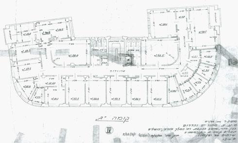 תוכנית הבניין, מתוך תיק התיעוד (שרטוט: סולר אדריכלים)