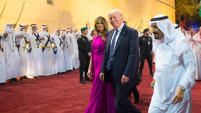 Donald and Melania Trump in Riyadh. When it comes to public relations, or Saudi purchases, we know we've lost the war even before it began (Photo: AFP)