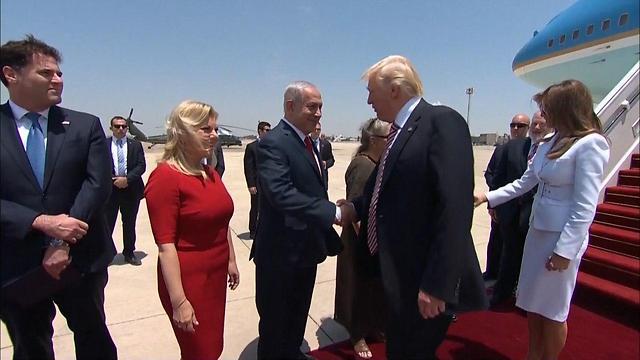 Prime Minister Netanyahu and wife Sara welcome Trump (Photo: GPO)