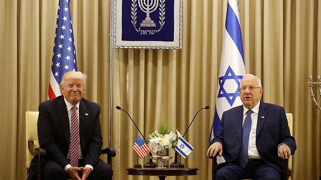Trump and Rivlin at the Presidence's Residence (Photo: Olivier Fitoussi)
