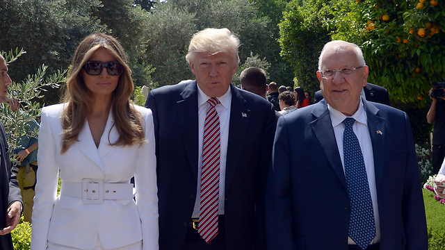 Donald and Melania Trump in Jerusalem with President Reuven Rivlin (Photo: GPO)