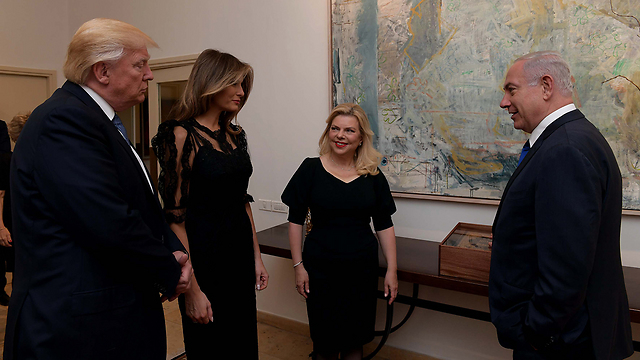 Sara and Benjamin Netanyahu welcome Donald and Melania Trump. The visit's achievement: The prime minister's residence was painted and polished in honor of the presidential couple (Photo: Avi Ohayon, GPO)