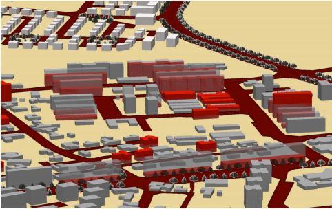 """ריכוז עסקאות הנדל""""ן בחלוקה לאזורי העיר. גובה המבנה מעיד על מספר העסקאות הנעשות באזור ()"""