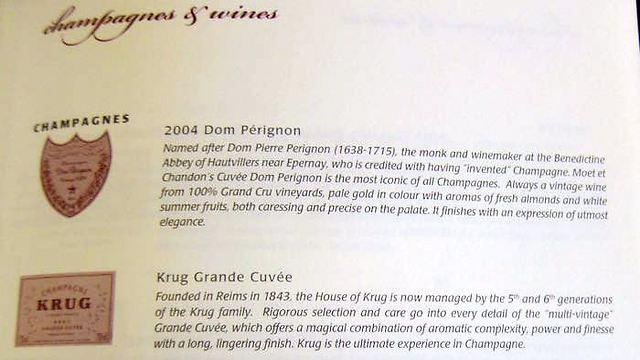 מתוך תפריט היין של סינגפור איירליינס