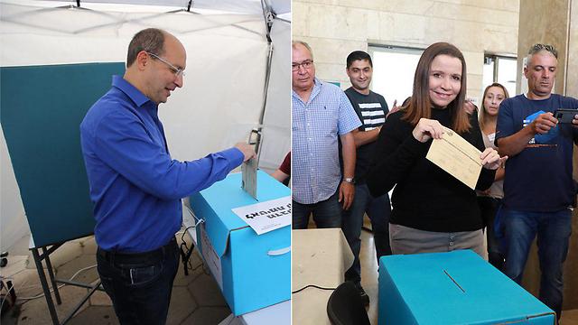ניסנקורן ויחימוביץ' ביום הבחירות (צילום: דנה קופל, מוטי קמחי)